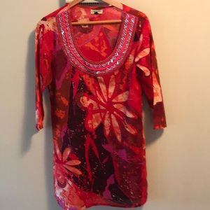 Caravan beaded neck red indian cotton cover up